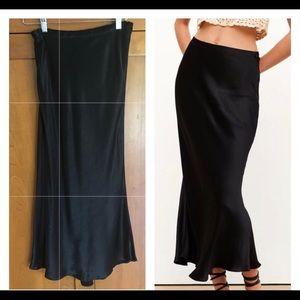 ZARA Black Satin Slip Midi Skirt - Small